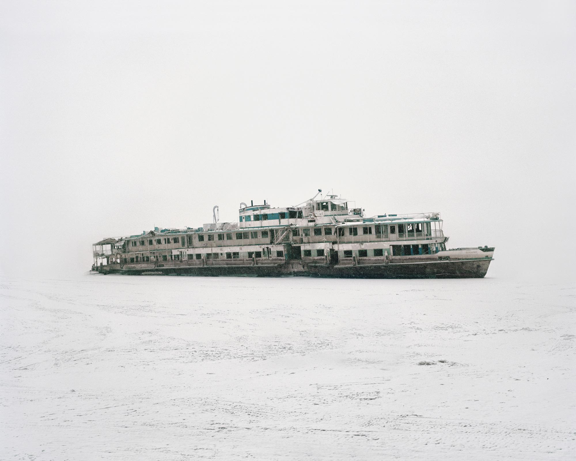 """Geborgenes Wrack des Passagierschiffs """"Bulgaria"""", bei dessen Untergang 122 Menschen ertrunken sind – Republik Tatarstan, 2014"""