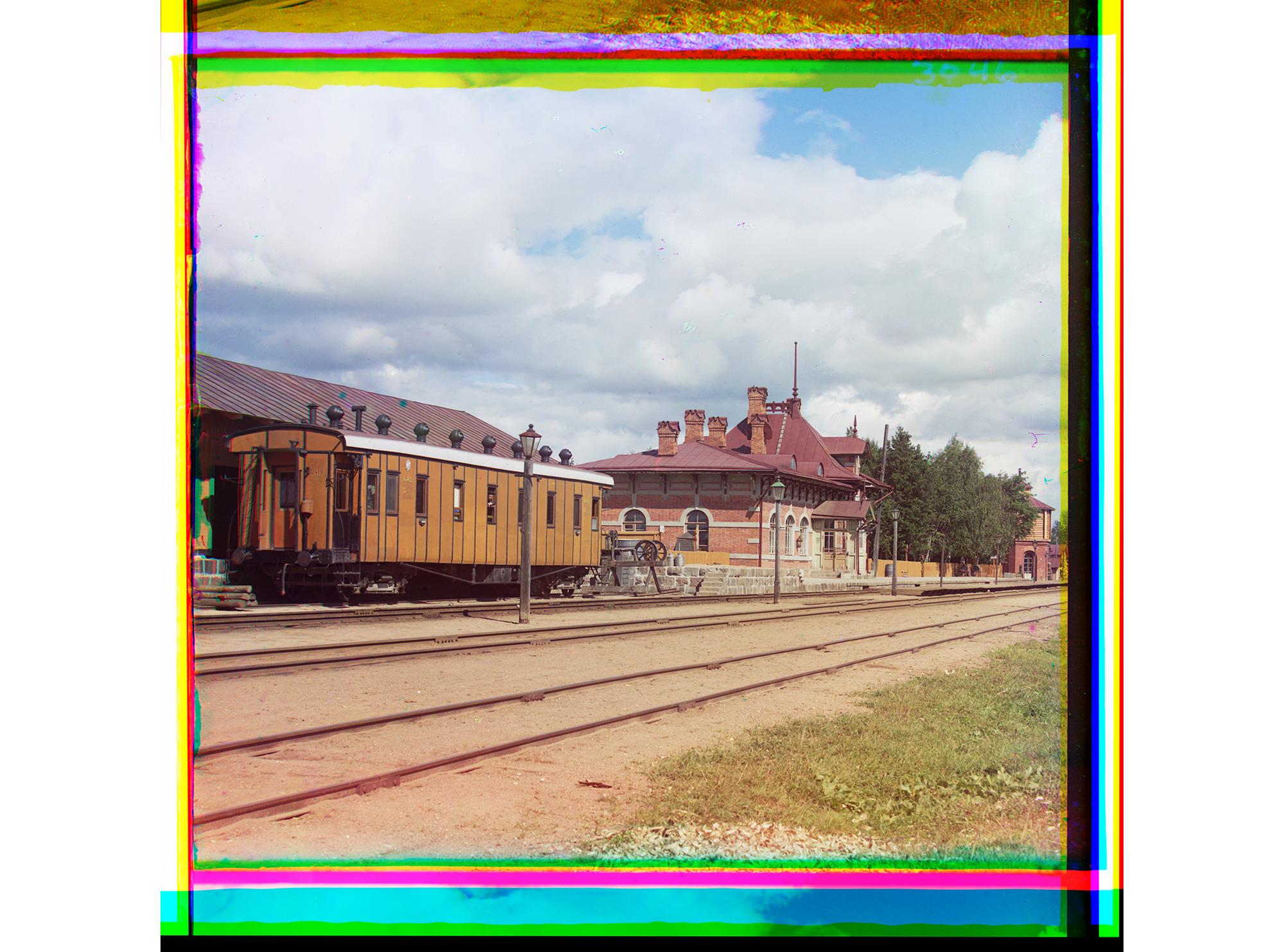 Bahnhof von Borodino. Als Fotolabor ausgerüsteter Eisenbahnwaggon, Borodino, 1911