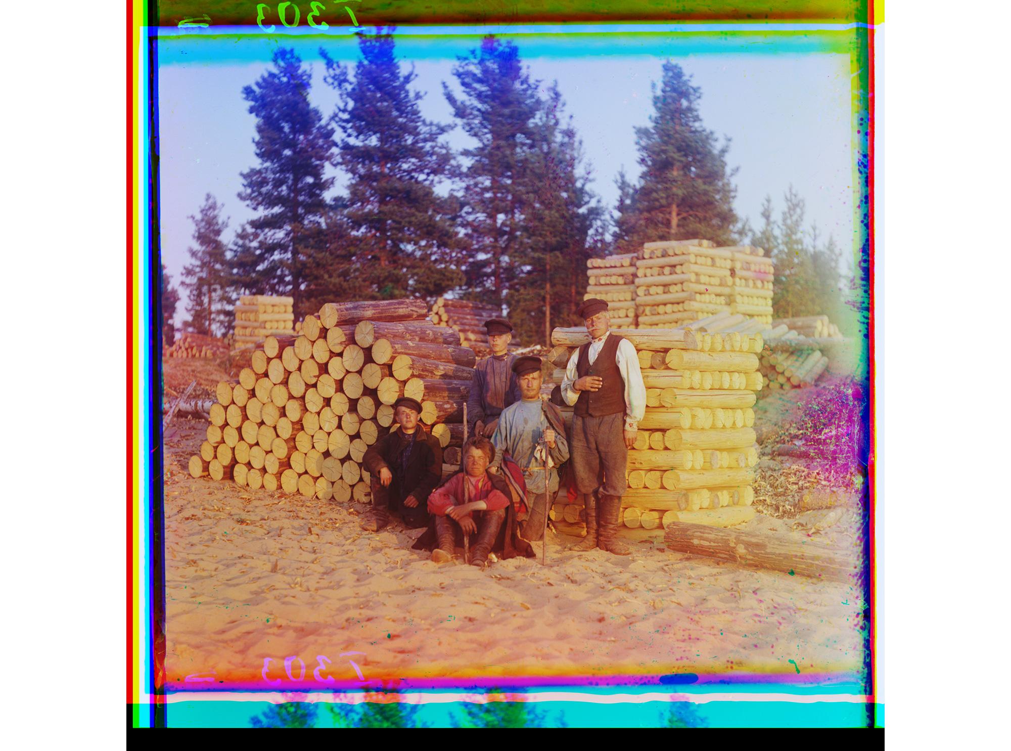 Holzfäller am Fluss Swir, 1909
