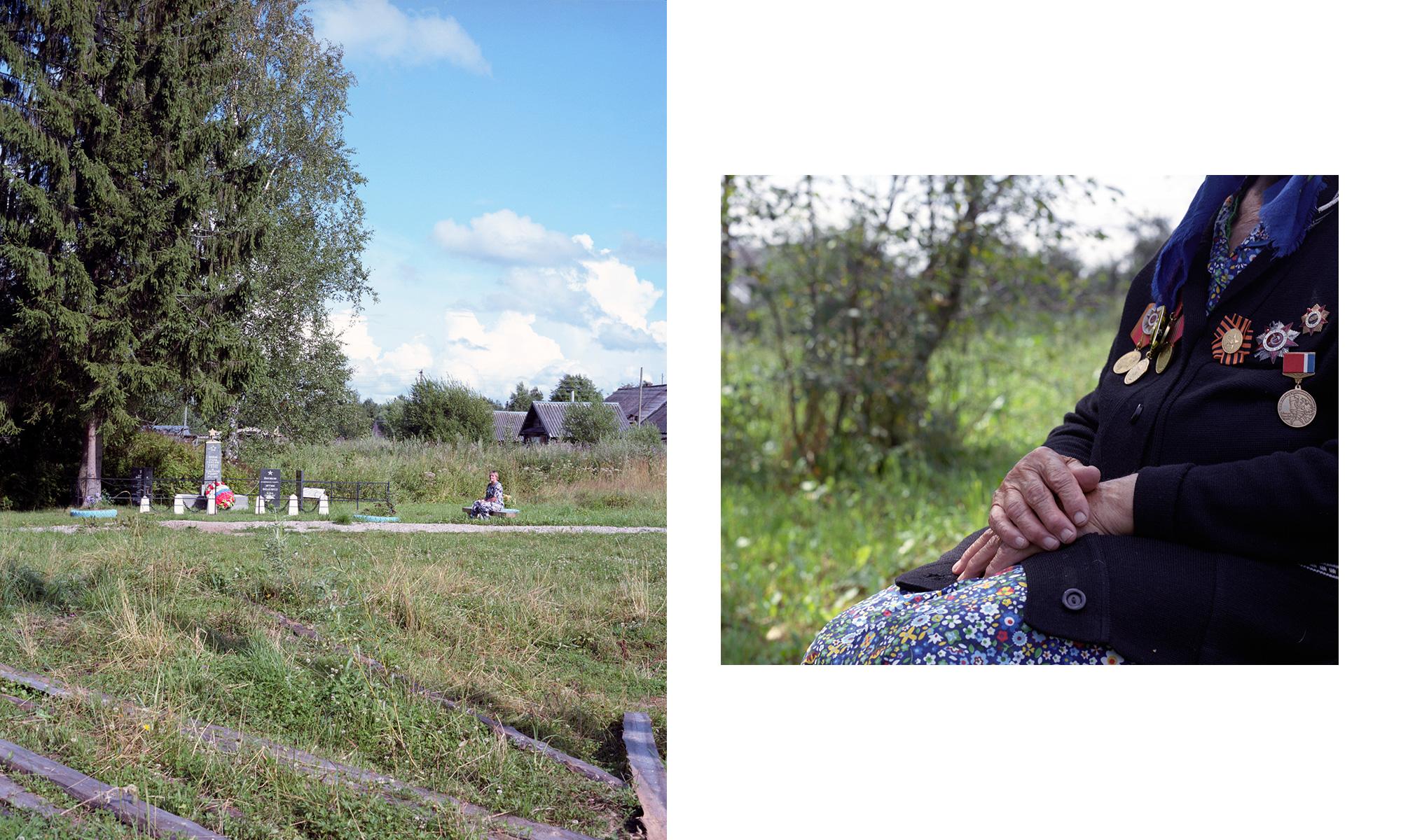 Links – im Dorf Tschastowa. Rechts – Pelageja Alexejewna Kuljabina, Dorf Guschtschino
