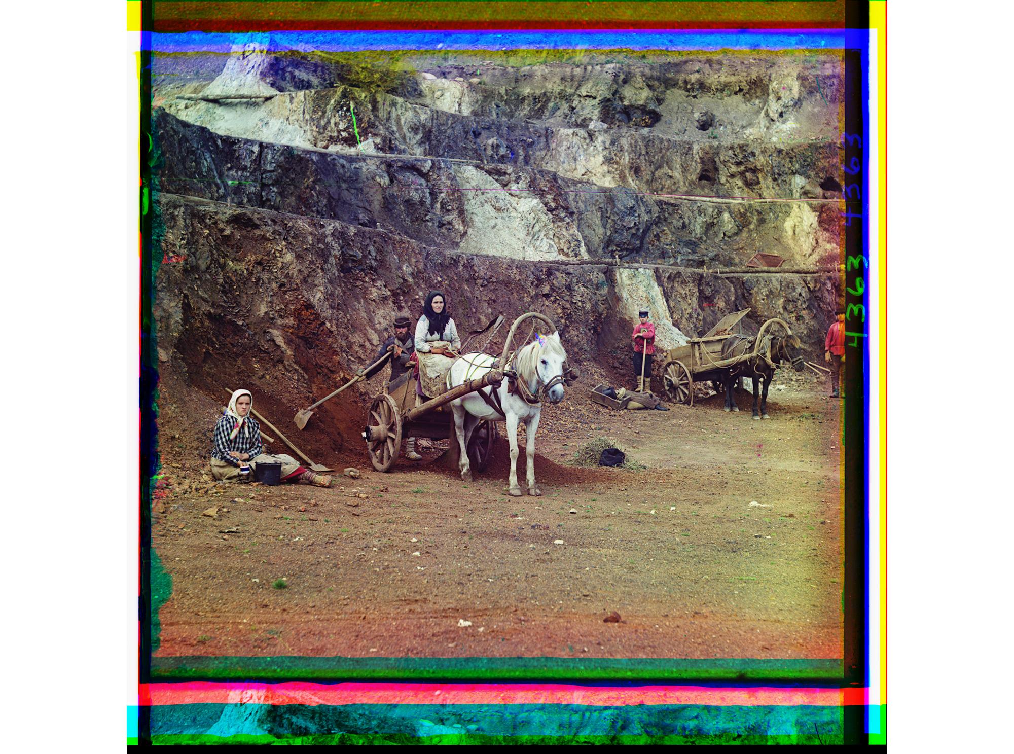 Arbeit in der Eisenmine, bei Bakal, Ural 1910