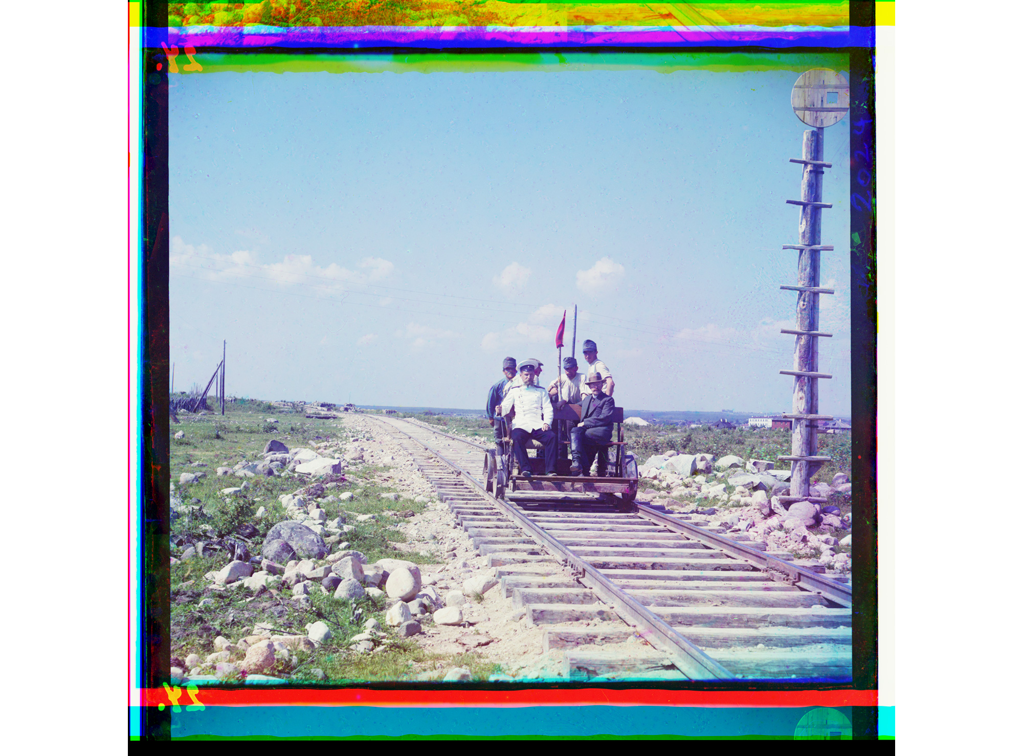 Auf der Draisine über die Murmansk-Bahnstrecke, bei Petrosawodsk, 1915