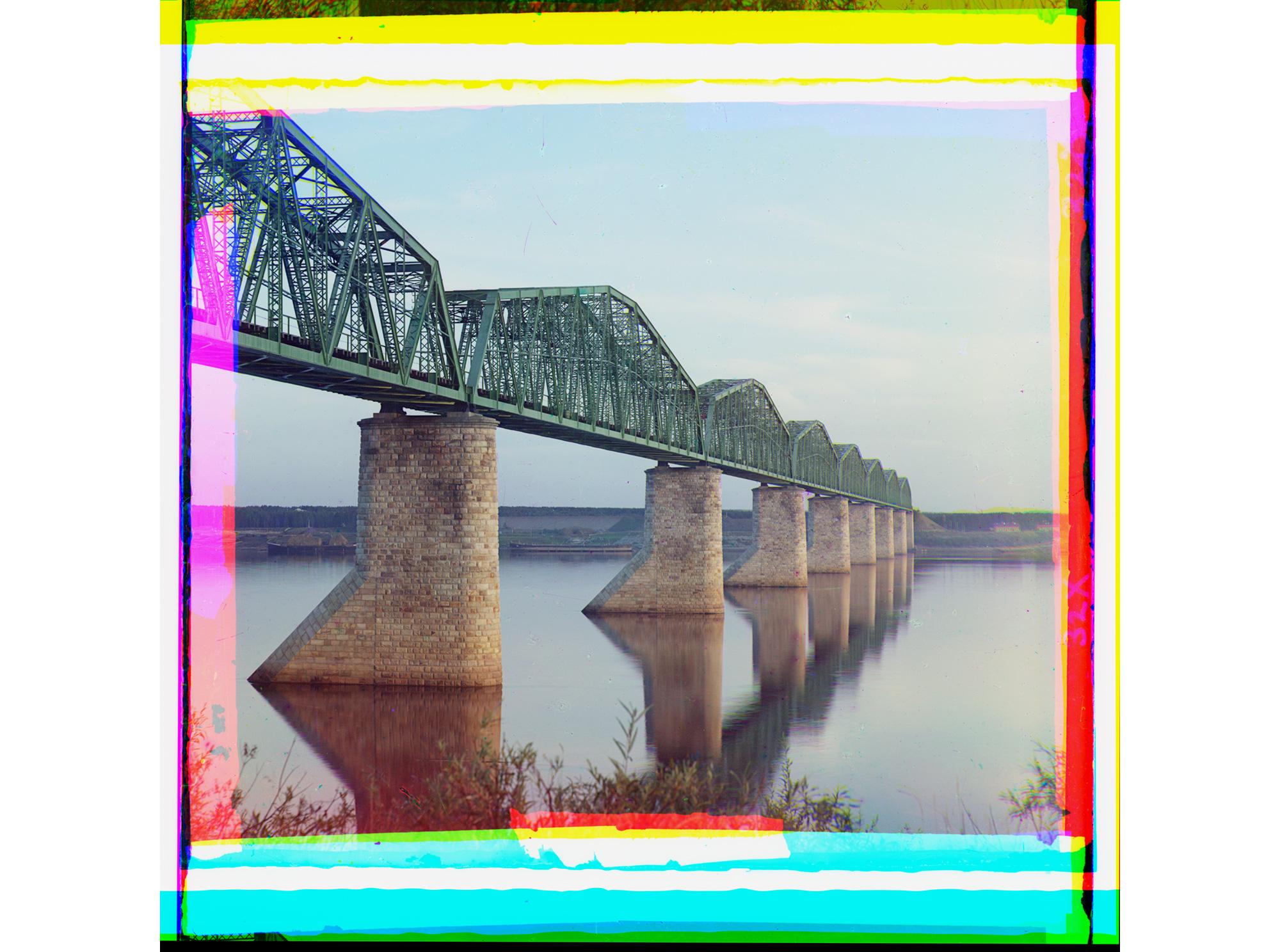 Brücke der Transsibirischen Eisenbahnlinie über den Fluss Kama nahe Perm am Ural, 1910