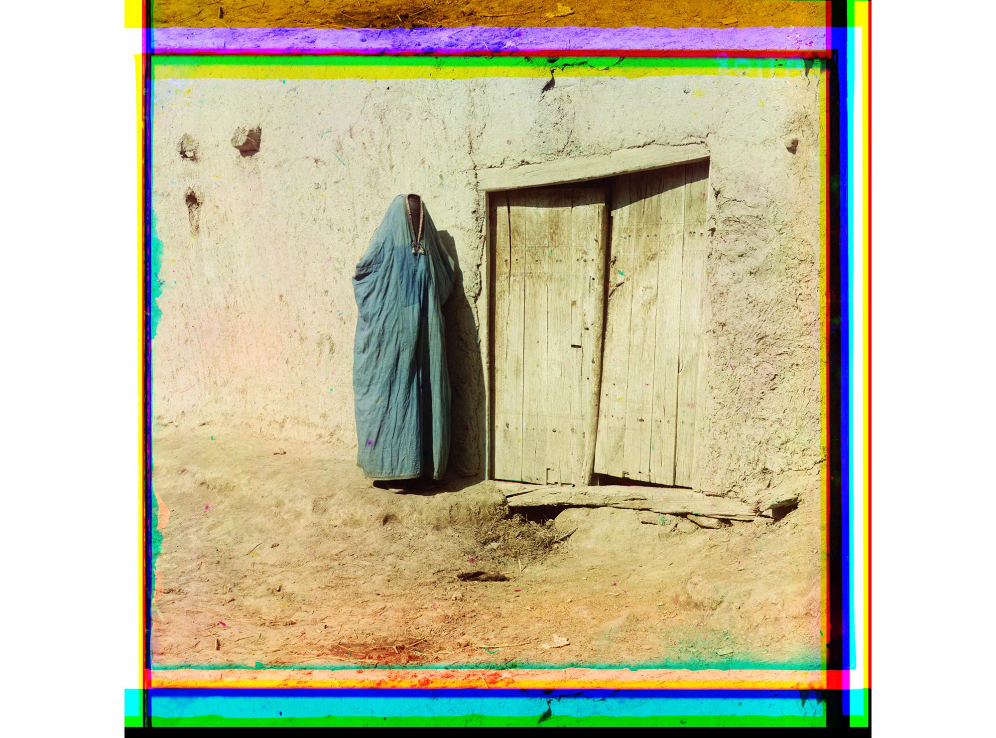 Sarten-Frau in einem Paranja, Samarkand, zwischen 1905 und 1915