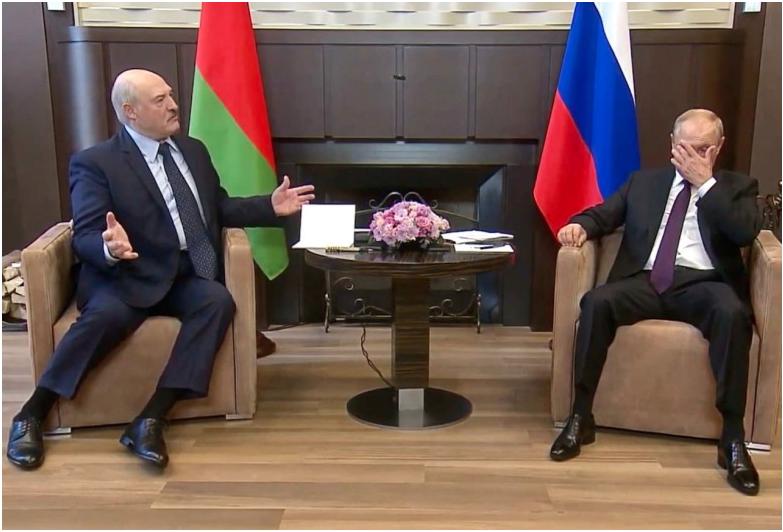 Ein Bild sagt mehr als tausend Worte? – Putin und Lukaschenko bei ihrem Treffen in Sotschi / Foto ©  Screenshot RT