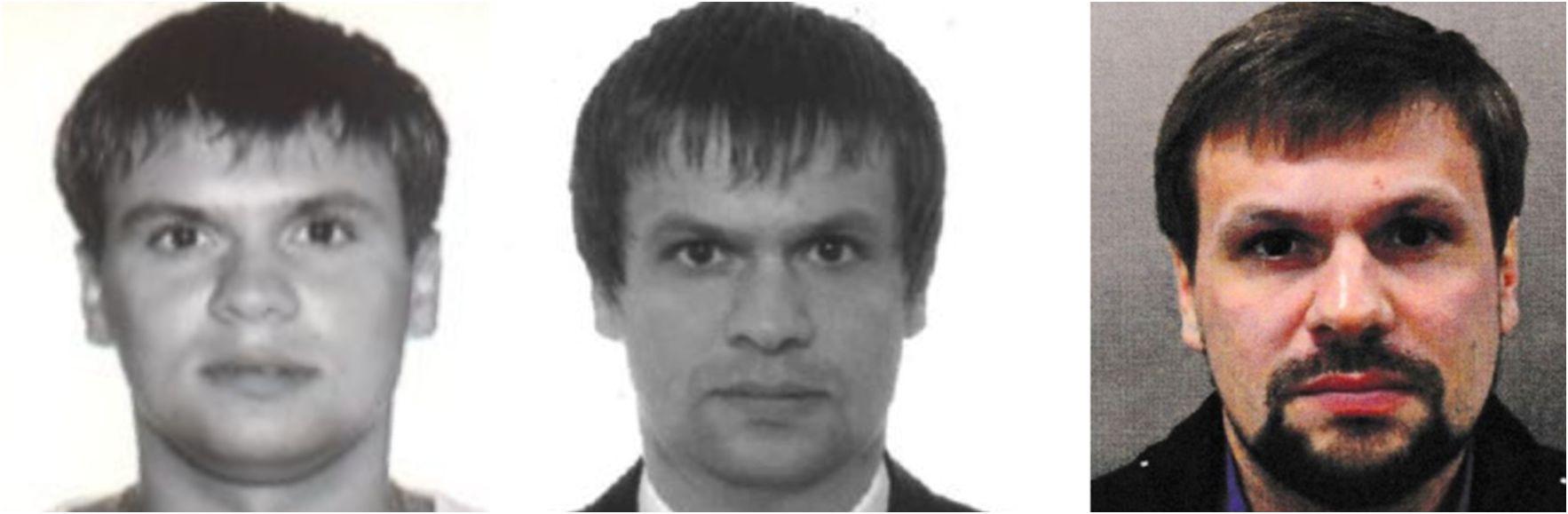 V. l. n. r. - Anatoli Tschepiga (russische Passdatenbank 2003), Ruslan Boschirow (russische Passdatenbank 2012) und Ruslan Boschirow (Fahndungsfoto der britischen Polizei 2018) / Quelle: The Insider/Bellingcat
