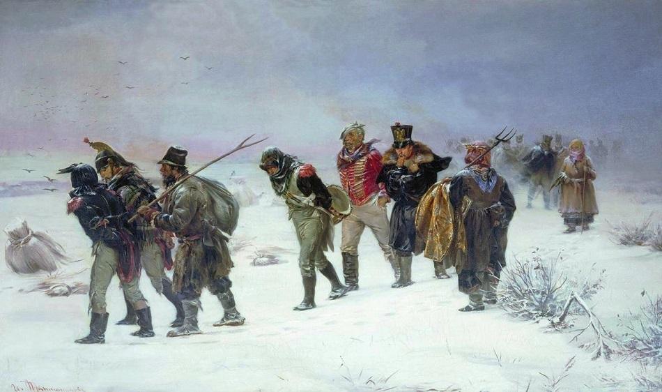 """Strenger Frost dezimierte unerbittlich die Reihen der sich zurückziehenden Grande Armée / Illarion Prjanischnikow, """"Im Jahr 1812"""", 1874"""