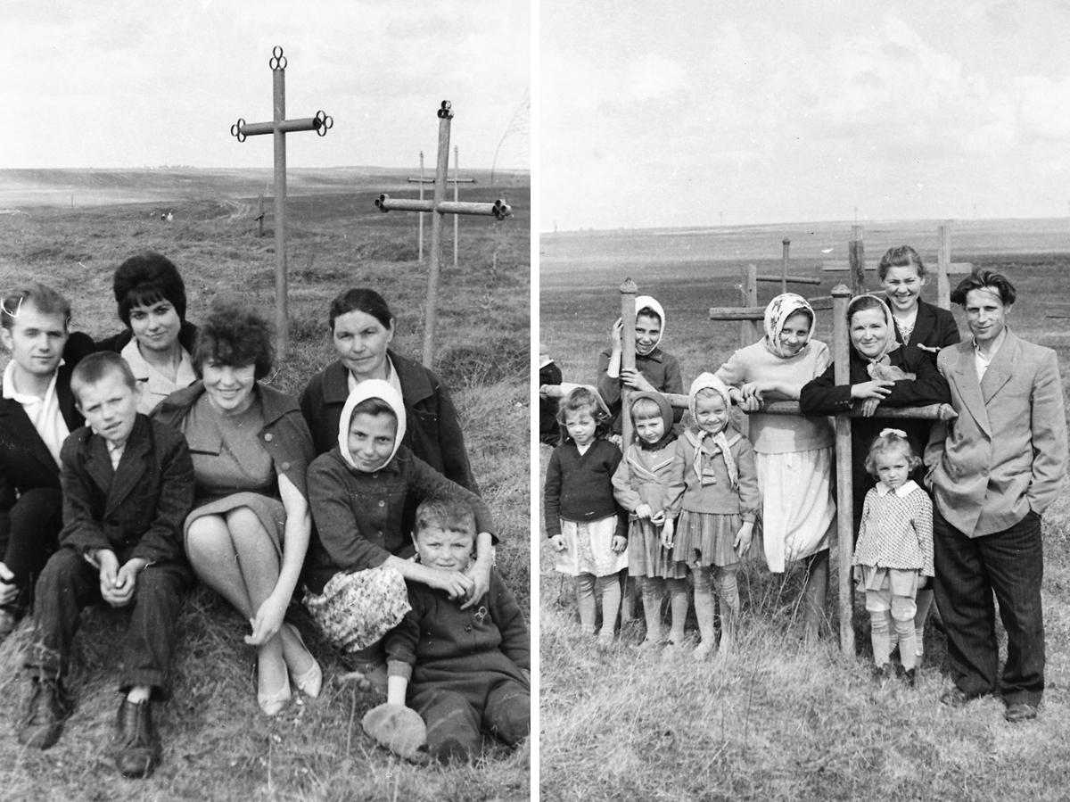 1960–1970, Vialikaje Zarečča, Rajon Schklou, Magіljoўskaja Oblast. Totengedenktag Raduniza. Foto von Ivan Daŭhin. Aus dem Archiv von Siarhiej Lieskieć
