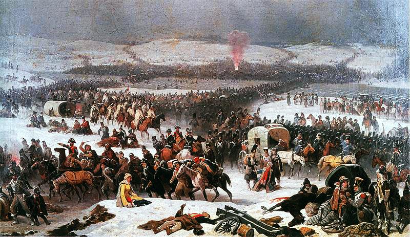"""Russische Truppen schnitten im November an der Beresina die Hauptroutefür den Rückzug ab / Januari Suchodolski, """"Die Grande Armée überquert die Beresina"""", 1866"""