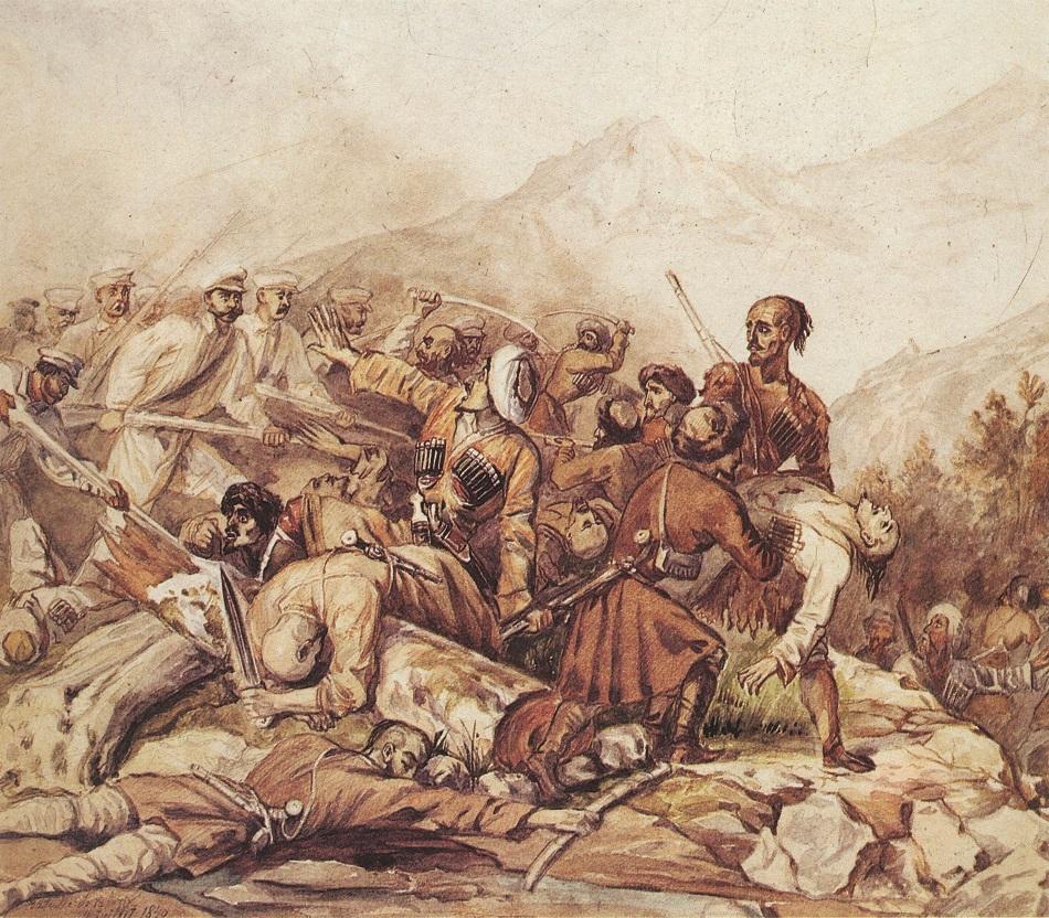 """Mit dem Kaukasuskrieg begann ab 1817 die eigentliche Kolonialisierung Tschetscheniens / """"Die Schlacht am Walerik"""", Aquarell von M. Lermontow und G. Gargarin, 1840"""