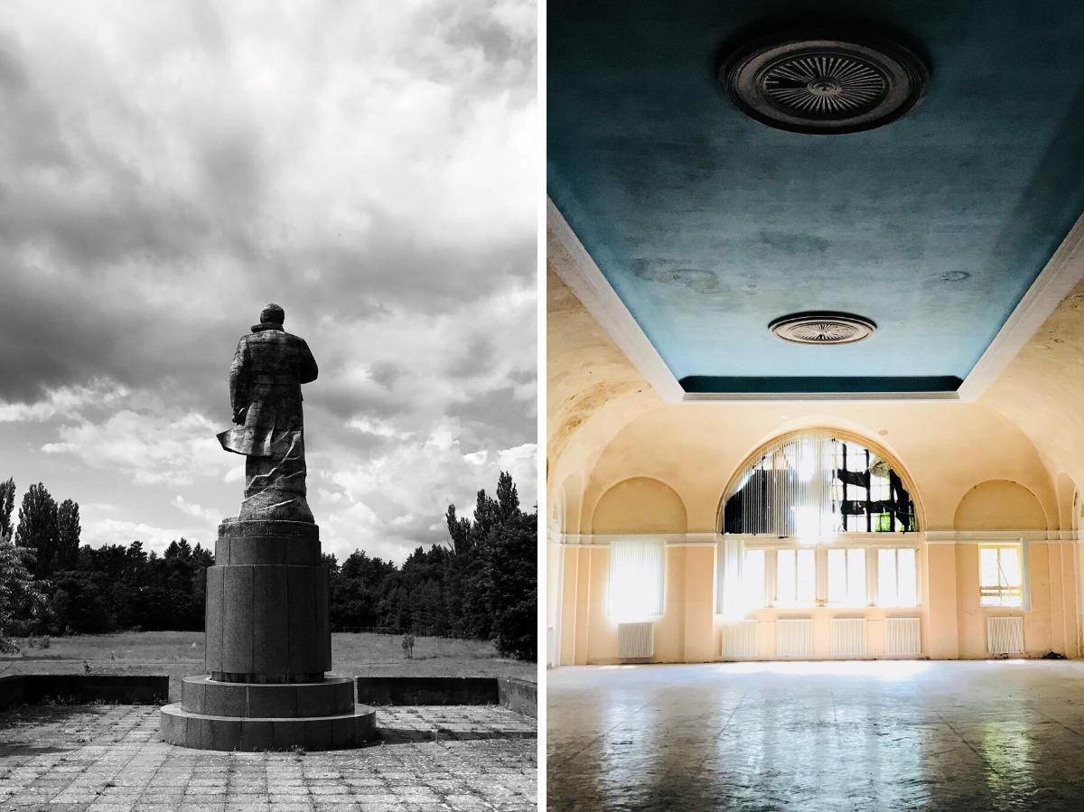 Статуя Ленина в Вюнсдорфе, район Вальдштадт (слева) / Санаторий в Вюнсдорфе. Начиная с 1954 года в Вюнсдорфе располагалось командование группы советских войск в ГДР. В «запретном городе» были расквартированы 70 тысяч советских солдат и их семьи (справа) © Андреас Метц