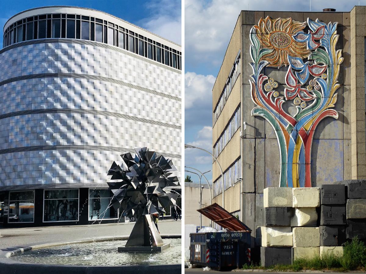 Характерный фасад бывшего универмага Конзум в Лейпциге, давшее зданию прозвище «Жестянка». Перед ним – фонтан «Хрустальный цветок» скульптора Гарри Мюллера, 1972 года (слева) / Бетонный цветок, выполненный коллективом неизвестных авторов, фабричное здание в Берлине, Вайсензее (справа) © Андреас Метц