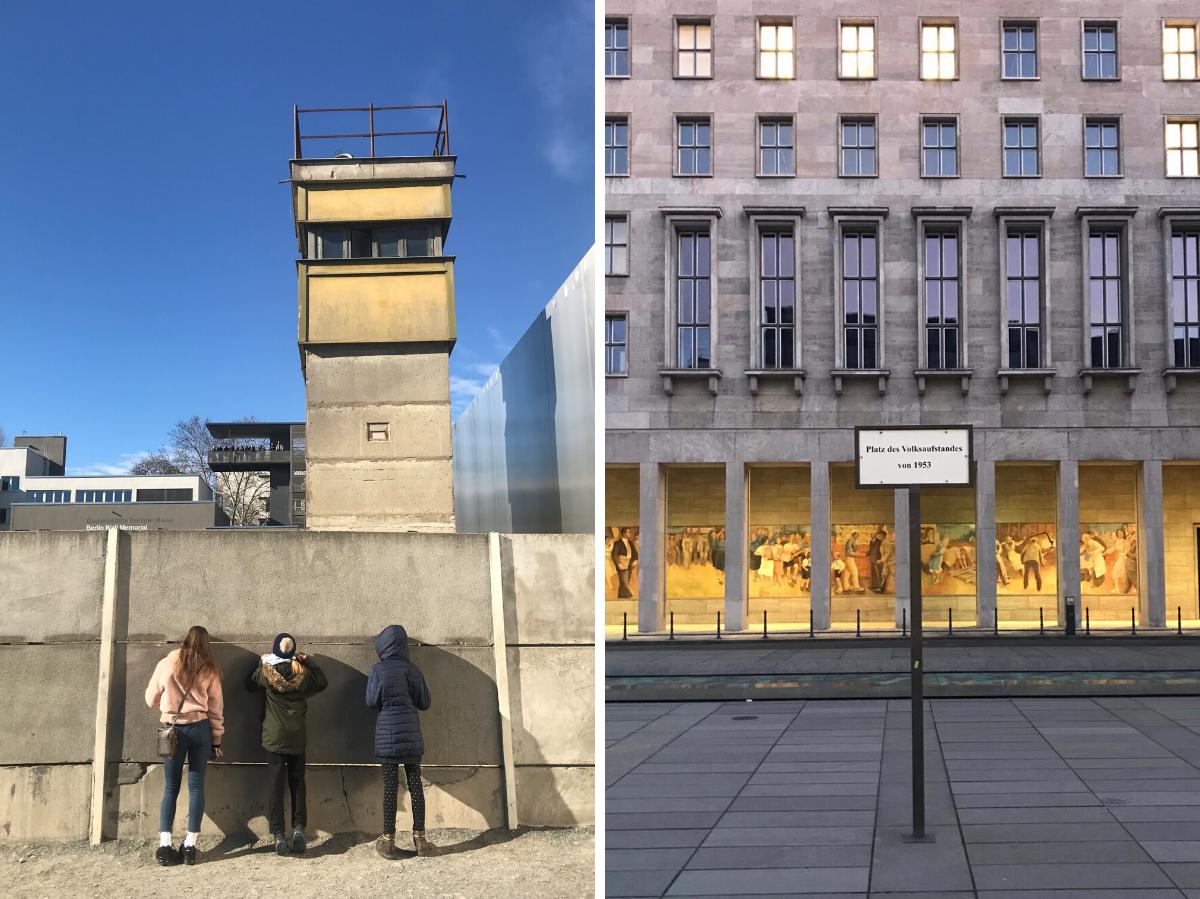 Вид сквозь вторую – внутреннюю или так называемую «тыловую» – стену на восстановленный фрагмент Берлинской стены Бернауэр Штрассе (слева) / В бывшем здании Рейхсминистерства авиации 7 октября 1949 года временный Народный совет провозгласил Германскую Демократическую Республику. Позднее тут разместились многие министерства ГДР. Во время июньского восстания 1953 года здесь проходили акции протеста. В 1990 году в этом здании начало работу служба по управлению госсобственностью (Treuhandanstalt). В наши дни здесь размещается министерство финансов (справа) © Андреас Метц