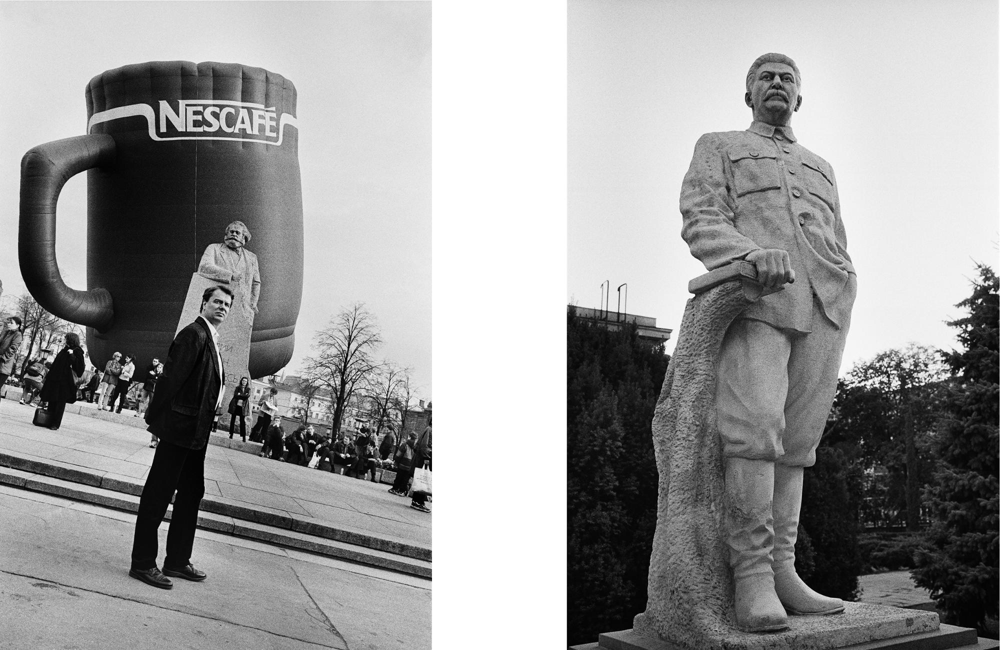 Linkes Foto – Karl Marx, Moskau, 2001 | Rechtes Foto – Josef Stalin, Gari, Georgien, 2017 / Fotos © Igor Mukhin