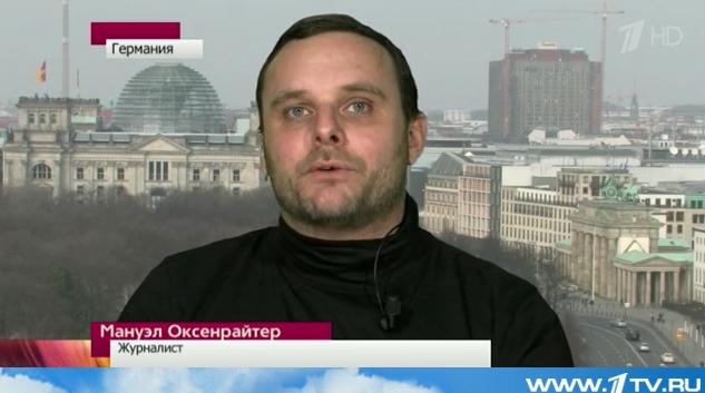 Manuel Ochsenreiter (Redakteur der rechten Zeitschrift Zuerst!) im Ersten Russischen Fernsehen