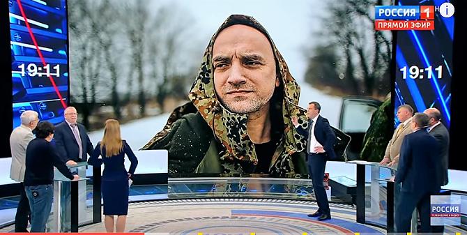 """Sachar Prilepin – Schriftsteller und Veteran des Tschetschenienkrieges – führt nun ein Bataillon im Donbass / Foto © Screenshot der Sendung """"60 Minut"""" (""""Erster Kanal"""") vom 14.02.2017"""
