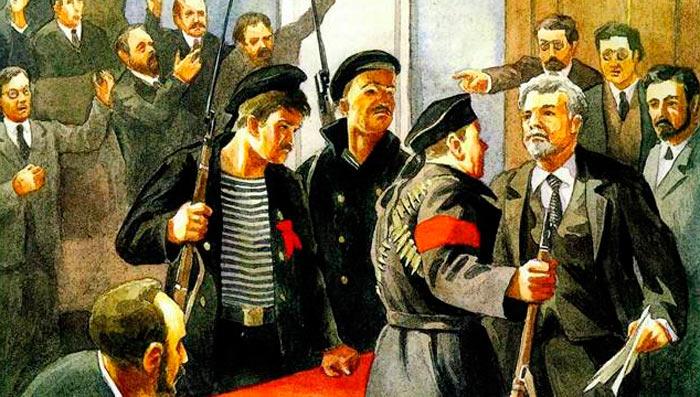 Am 5. (18.) Januar 1918 trat die Verfassunggebende Versammlung zusammen. Demonstrationen, die ihren Start unterstützten, wurden von den Bolschewiki brutal niedergeschlagen